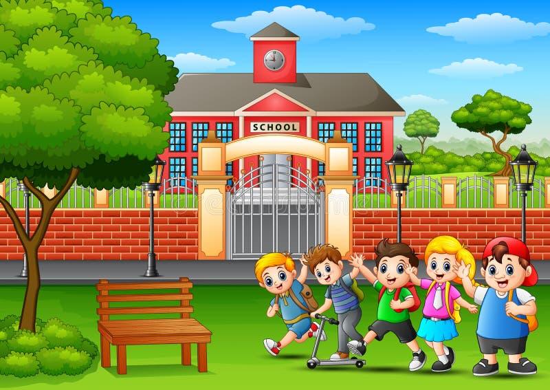 Lyckliga skolbarn som framme spelar av skolabyggnad stock illustrationer