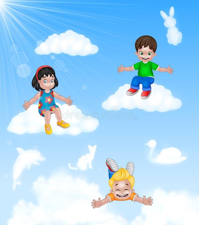 Lyckliga små ungar för tecknad film som sitter på molnet royaltyfri illustrationer