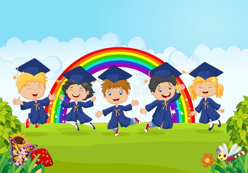 Lyckliga små ungar firar deras avläggande av examen med naturbakgrund vektor illustrationer