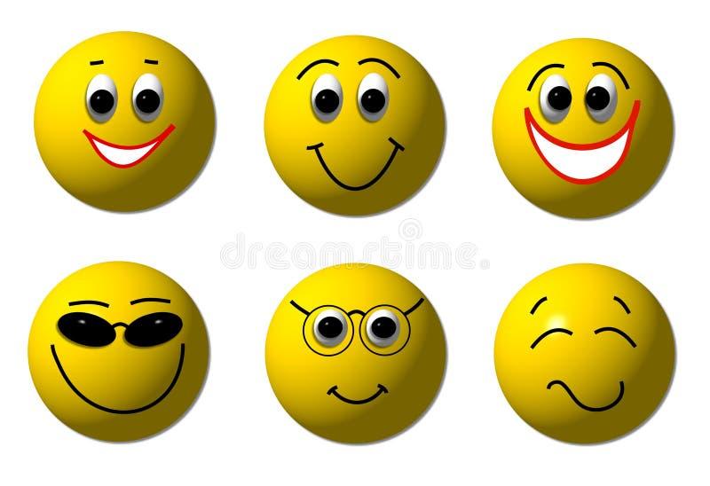 lyckliga smileys 3d vektor illustrationer
