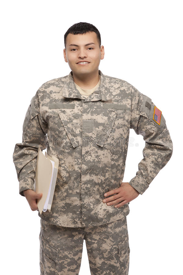 Soldat med dokument arkivfoton
