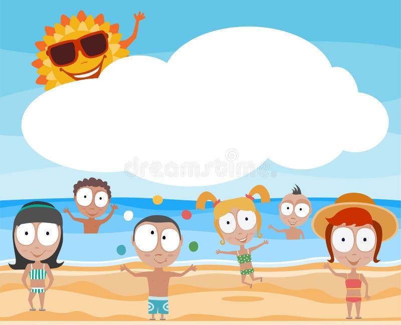 lyckliga sommarungar med solen stock illustrationer