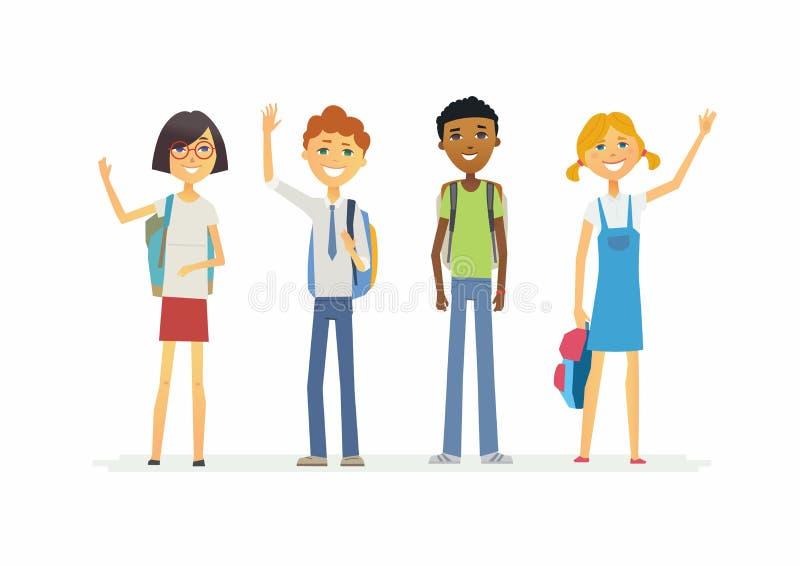 Lyckliga stående skolbarn med ryggsäckar - tecknad filmfolktecken isolerade illustrationen vektor illustrationer