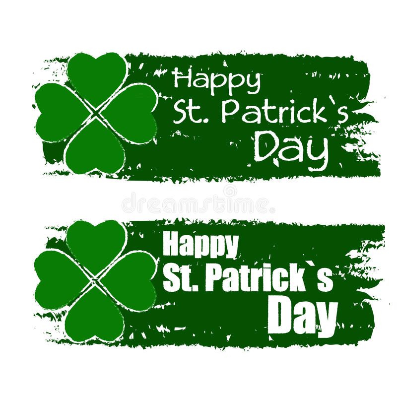 Lyckliga Sts Patrick dag med treklövertecknet, gör grön utdragna baner royaltyfri illustrationer