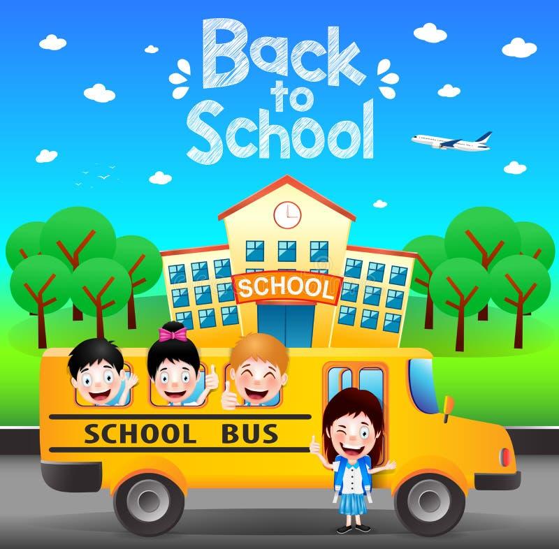 Lyckliga studenter som rider skolbussen som tillbaka går till skolan stock illustrationer