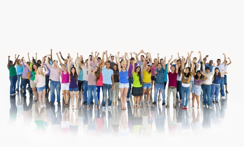 Lyckliga studenter Team Togetherness Concept för grupp royaltyfri foto