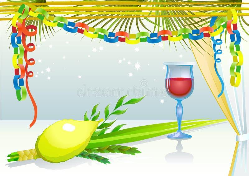 Lyckliga Sukkot med exponeringsglas av wine royaltyfri illustrationer
