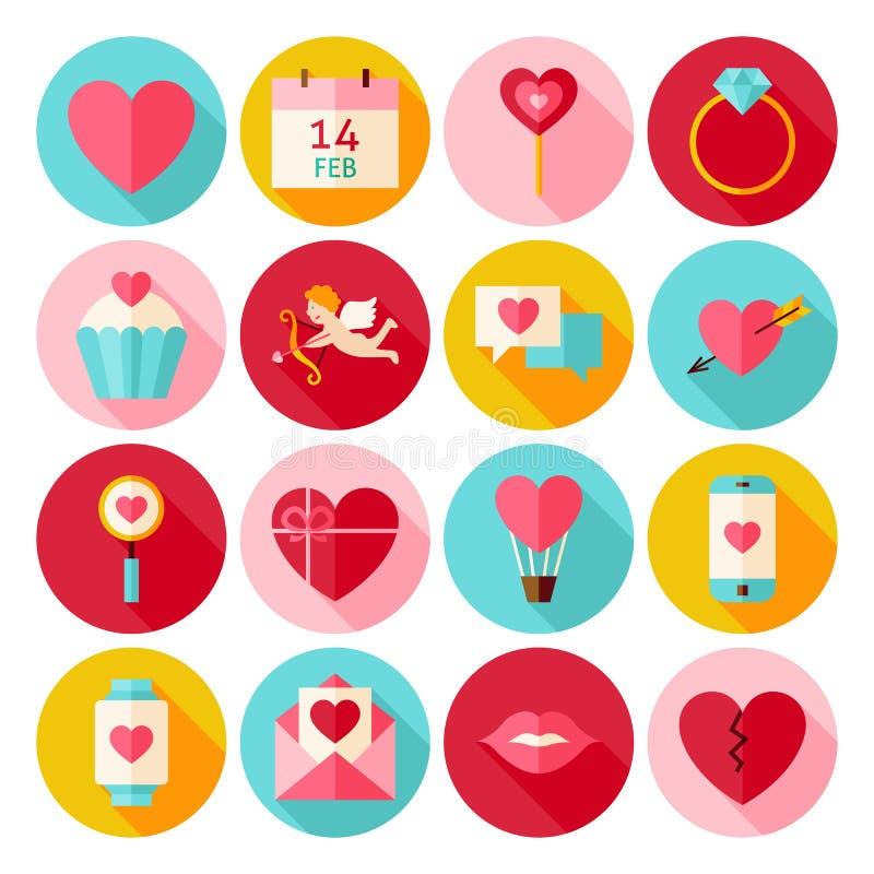 Lyckliga symboler för valentindagcirkel ställde in med lång skugga vektor illustrationer