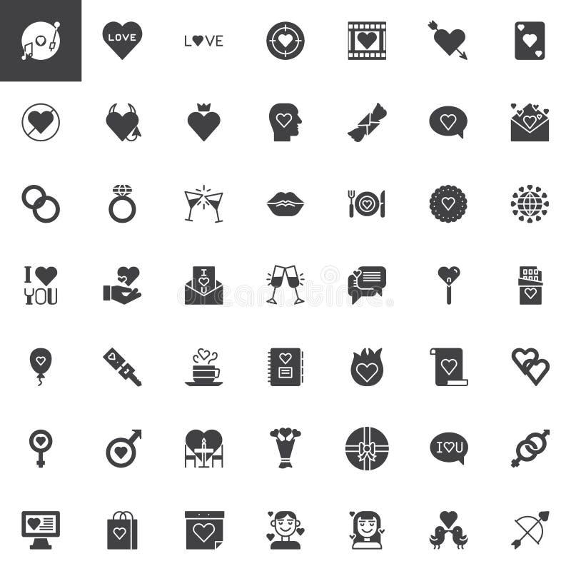 Lyckliga symboler för vektor för dag för valentin` s ställde in vektor illustrationer