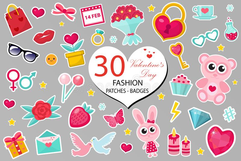 Lyckliga symboler uppsättning eller klistermärkear för mode för dagen för valentin` s lappar komisk stil för 80-tal Ben konst för vektor illustrationer
