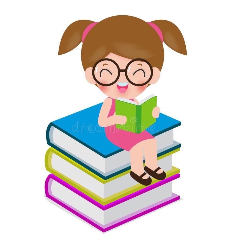 Lyckliga tecknad filmbarn medan läseböcker, I förälskelsebok, gulliga ungar som läser en isolerad bok på den vita bakgrundsvektor stock illustrationer