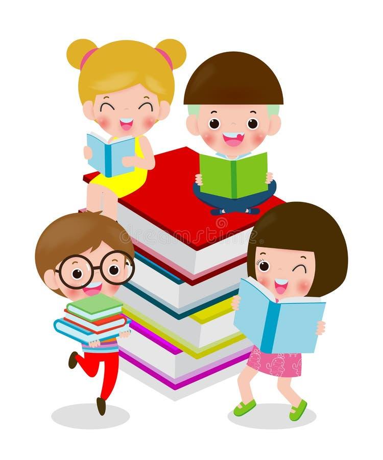 Lyckliga tecknad filmbarn medan l?seb?cker, I f?r?lskelsebok, gulliga ungar som l?ser en isolerad bok p? den vita bakgrundsvektor royaltyfri illustrationer