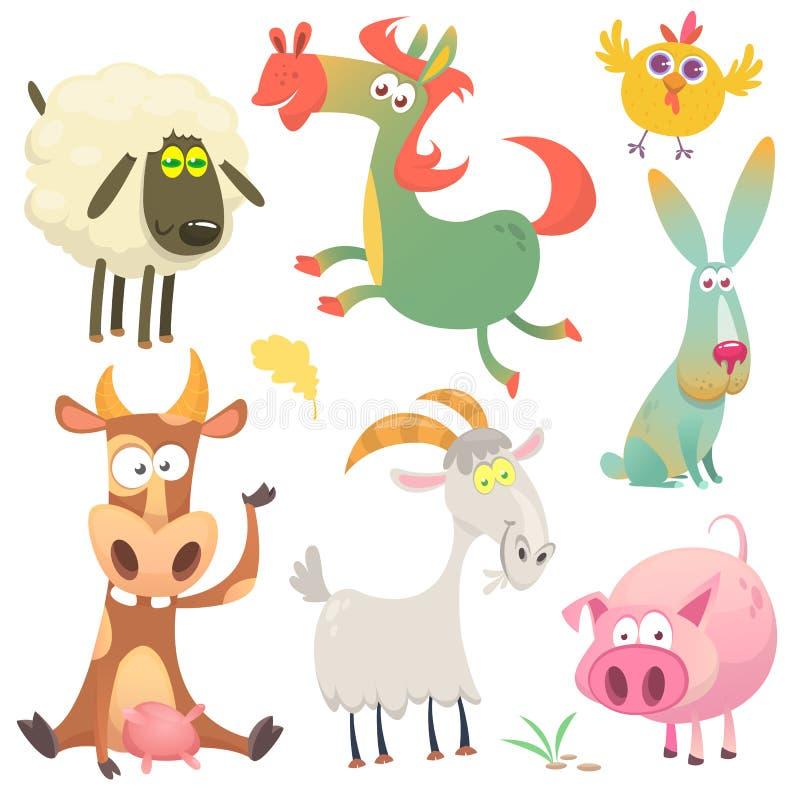 Lyckliga tecknad filmdjur djurlantgårdliggande sommar för många sheeeps Vektorillustration av geten och får för svin för kanin fö vektor illustrationer