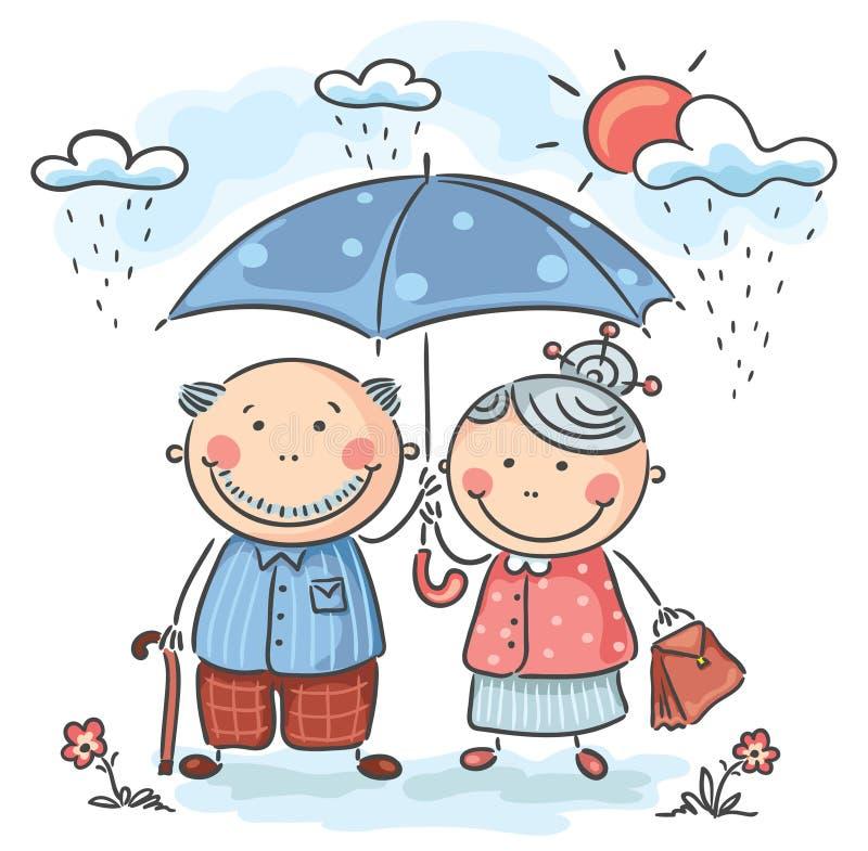 Lyckliga tecknad filmmorföräldrar stock illustrationer