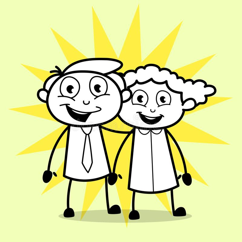 lyckliga tecknad filmpar royaltyfri illustrationer