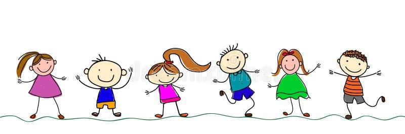 Lyckliga tecknad filmungar stock illustrationer