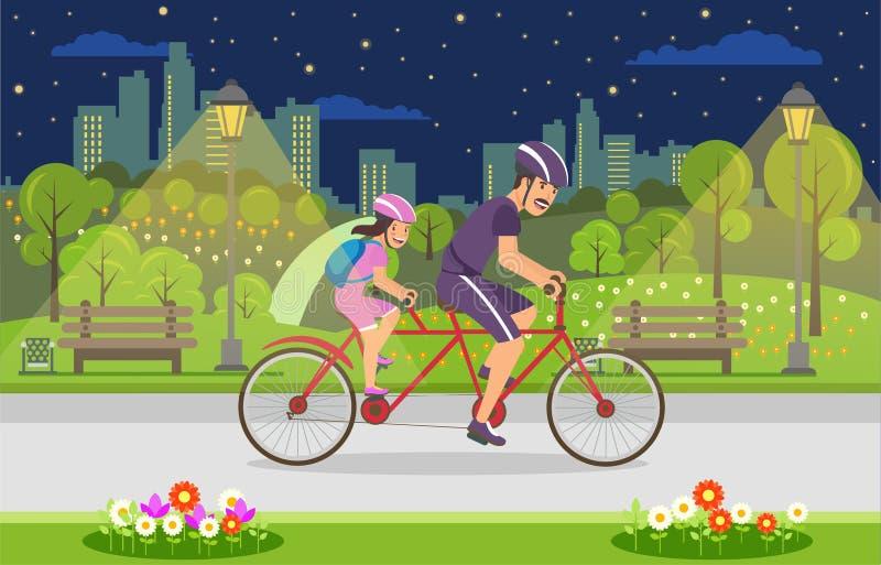 Lyckliga Tid med barnet går på cykeln i afton stock illustrationer