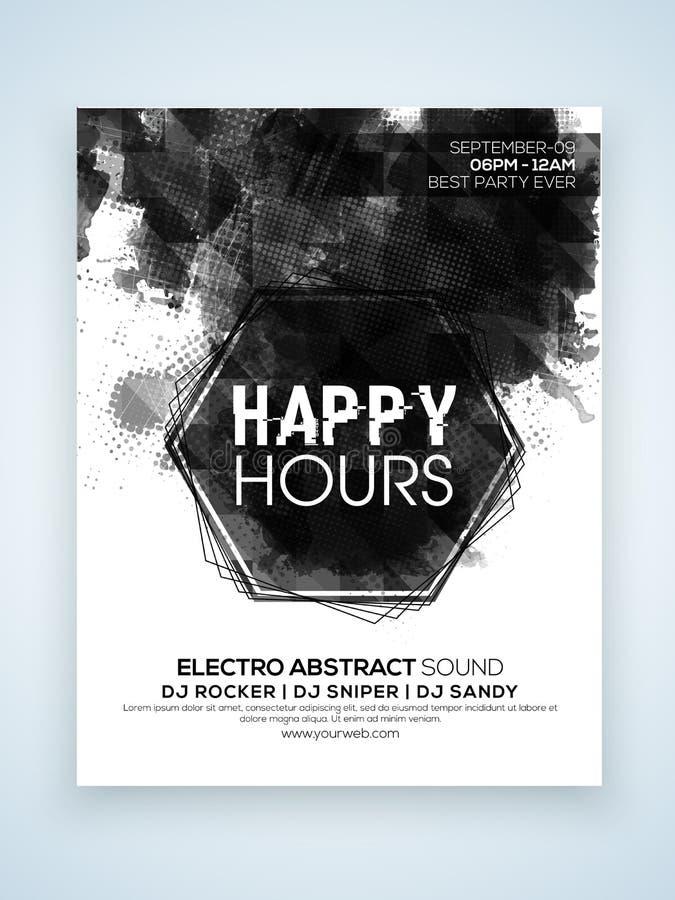 Lyckliga timmar partiberömreklamblad eller baner vektor illustrationer