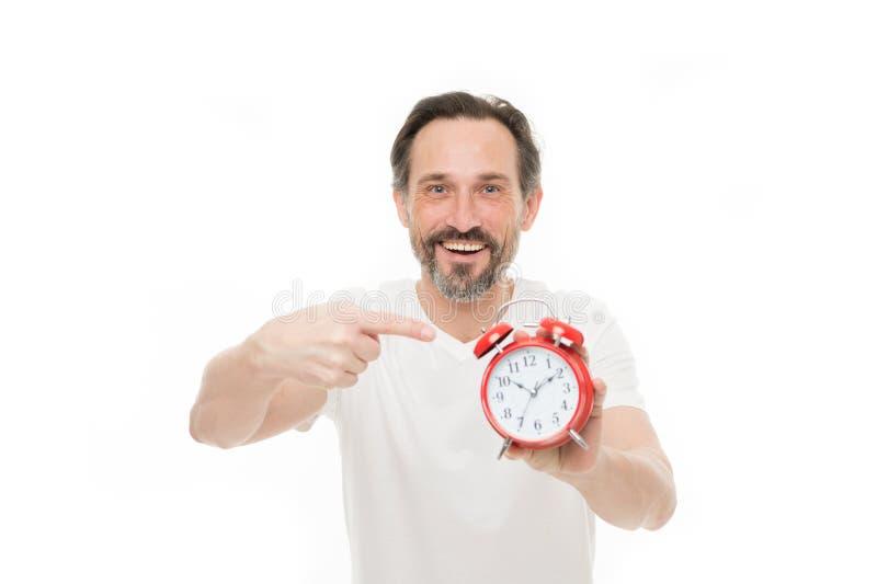 lyckliga timmar Personligt schema och dagligt styre Ringklockamorgontid Tid ledningexpertis Mannen uppsökte moget royaltyfri foto