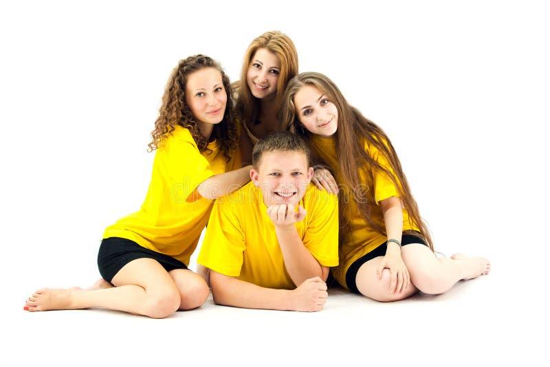 lyckliga tonåringar för grupp royaltyfri bild