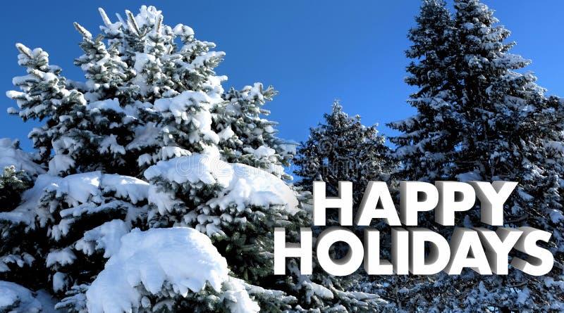 Lyckliga träd för snö för feriejulvinter arkivfoton