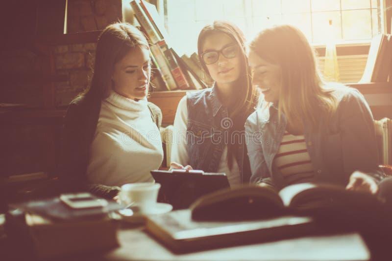 Lyckliga tre unga studentflickor som tillsammans arbetar läxa på li fotografering för bildbyråer