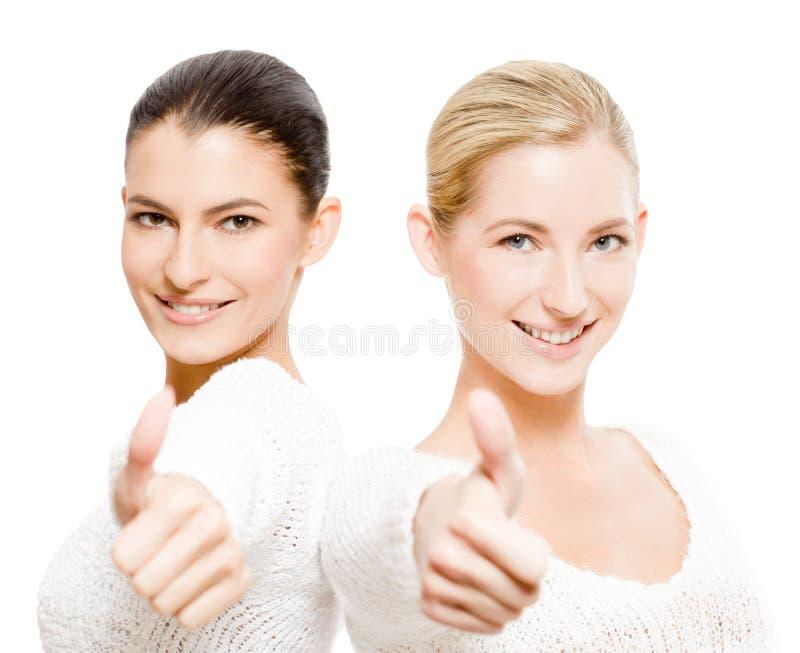 lyckliga två kvinnor royaltyfri foto