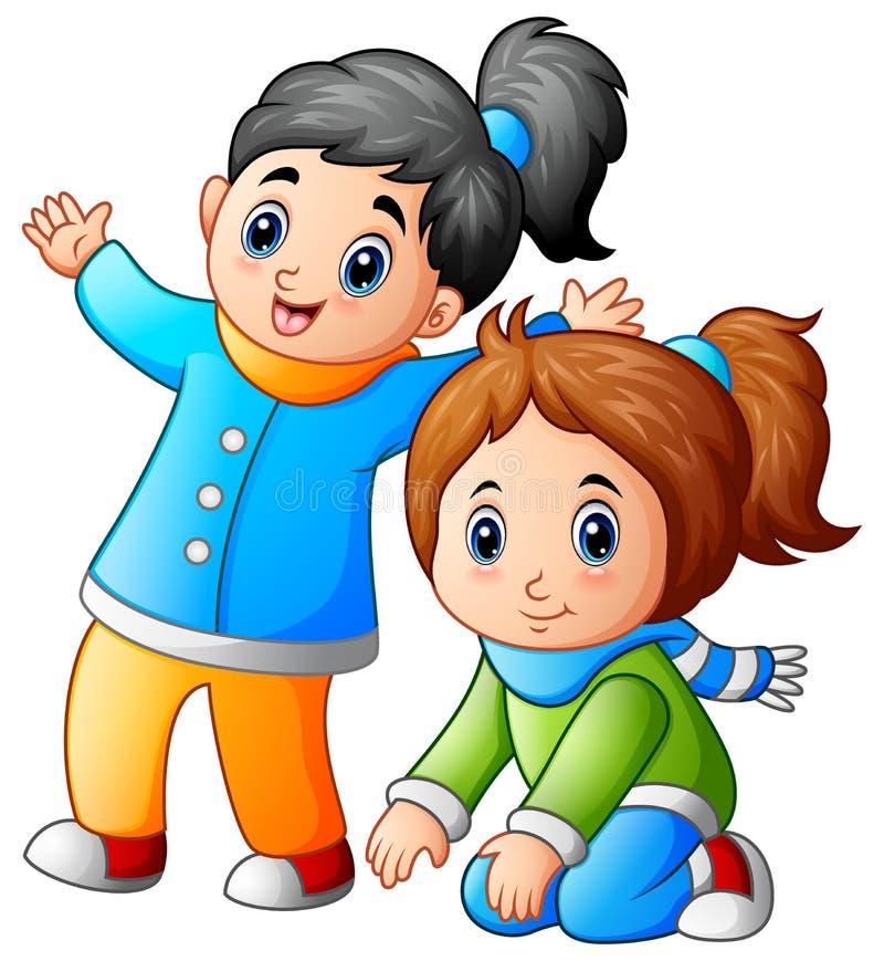 lyckliga två små flickor stock illustrationer
