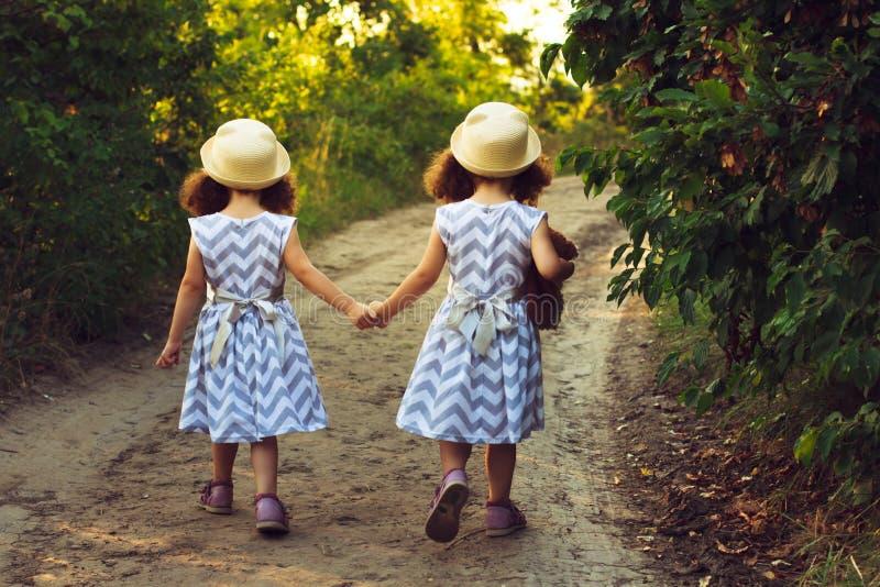 Lyckliga tvilling- systerbarn Flickasyster i en parkera och att gå på vägen som rymmer händer Solljus och sikt från baksida arkivfoto