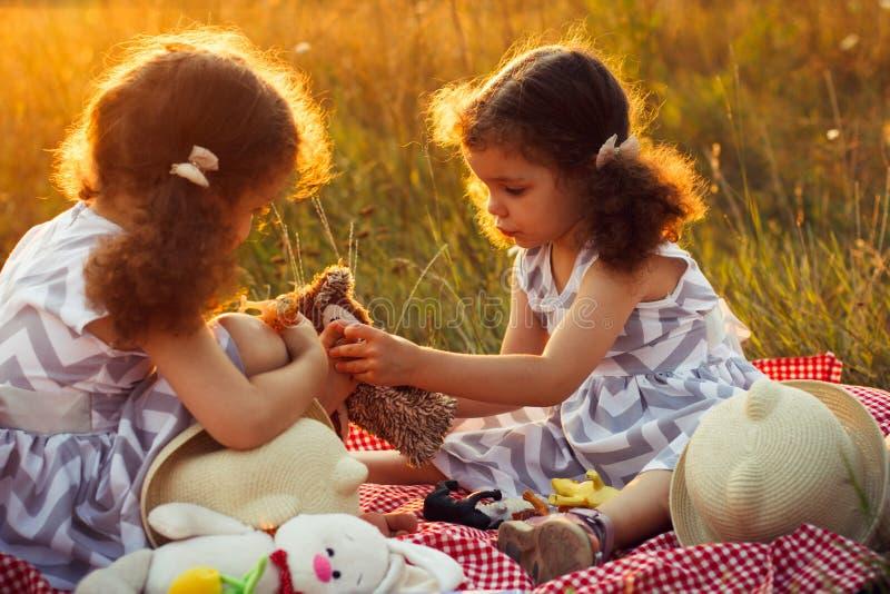 Lyckliga tvilling- systerbarn Lockig flickasyster i en parkera på en picknick som spelar med leksaker royaltyfri foto