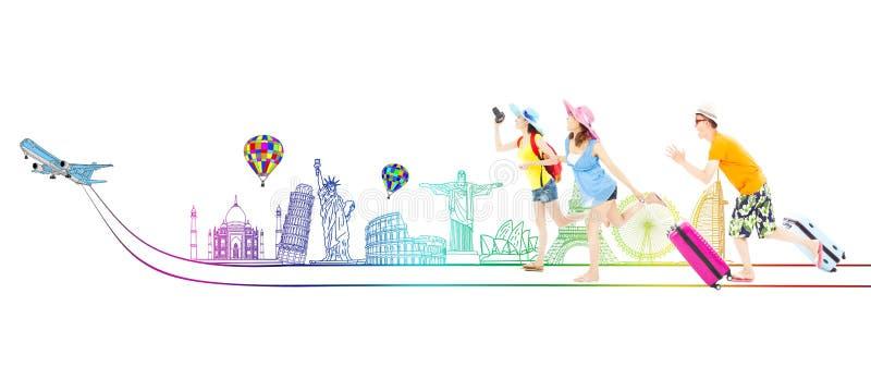 Lyckliga unga fotvandrare går att resa över hela världen tillsammans arkivfoton