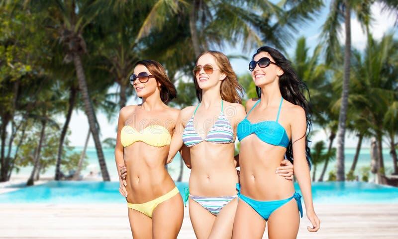 Lyckliga unga kvinnor i bikinier på sommar sätter på land fotografering för bildbyråer