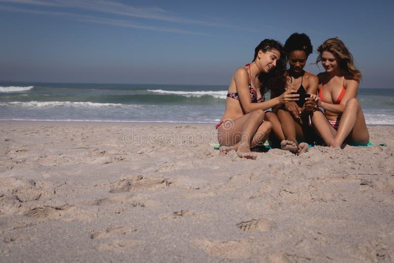 Lyckliga unga kvinnor som använder mobiltelefonen, medan sitta på stranden royaltyfri foto