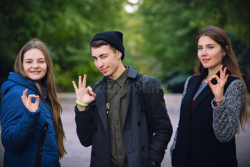 Lyckliga unga tonåringar på hösten parkerar uppvisning av det ok tecknet arkivfoton