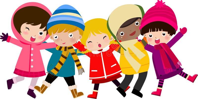 lyckliga ungar stock illustrationer