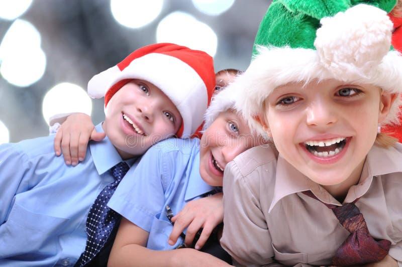 lyckliga ungar för jul royaltyfri bild