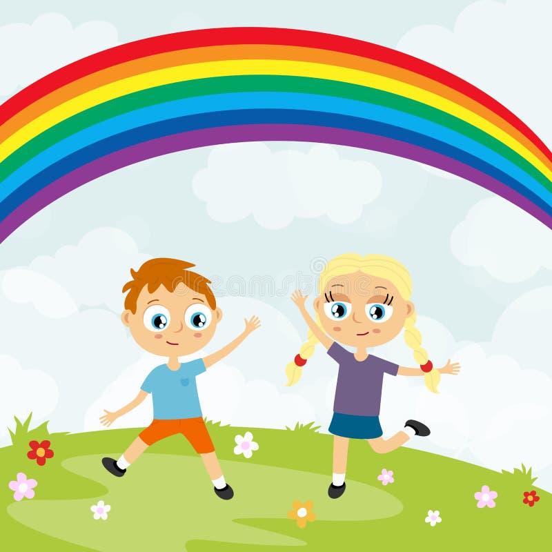lyckliga ungar för sommartid som har gyckel framme av regnbågen vektor illustrationer