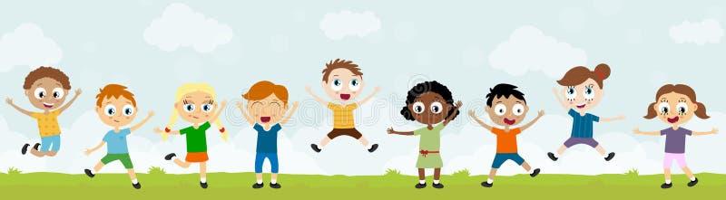 lyckliga ungar för sommartid som har gyckel stock illustrationer