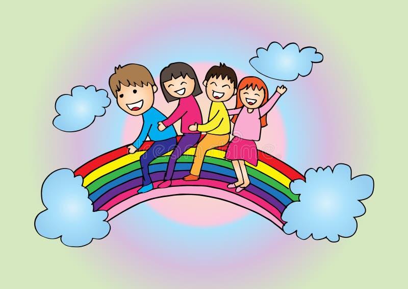 Lyckliga ungar för tecknad film på regnbågen royaltyfri illustrationer