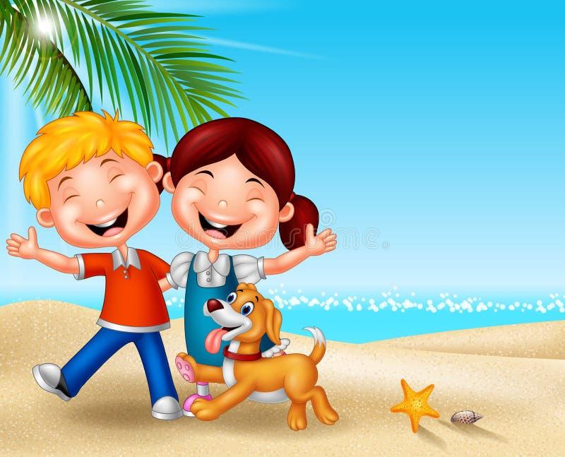 Lyckliga ungar för tecknad film på stranden royaltyfri illustrationer