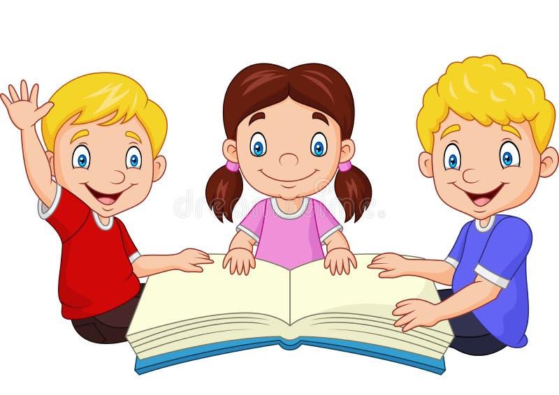 Lyckliga ungar för tecknad film som läser en bok royaltyfri illustrationer
