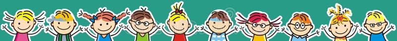 Lyckliga ungar, flickor och pojkar, gräns, vektorsymbol stock illustrationer