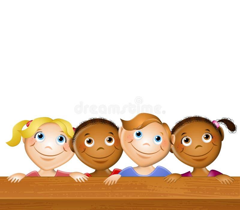 lyckliga ungar har picknick tabellen stock illustrationer
