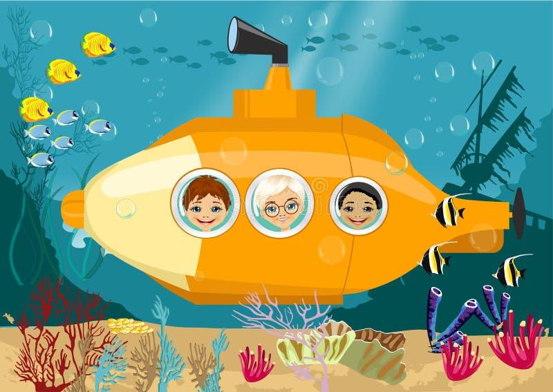 Lyckliga ungar i den undervattens- ubåten royaltyfri illustrationer