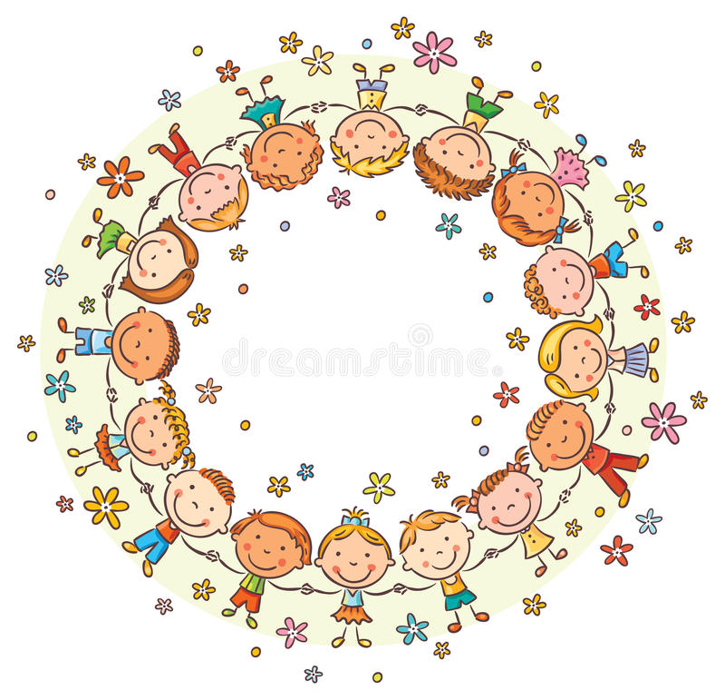 Lyckliga ungar i en cirkel stock illustrationer