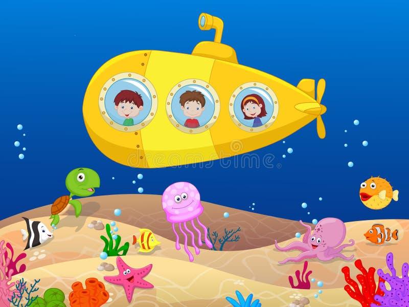 Lyckliga ungar i ubåt stock illustrationer