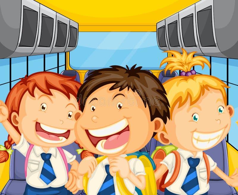 Lyckliga ungar inom schoolbusen royaltyfri illustrationer