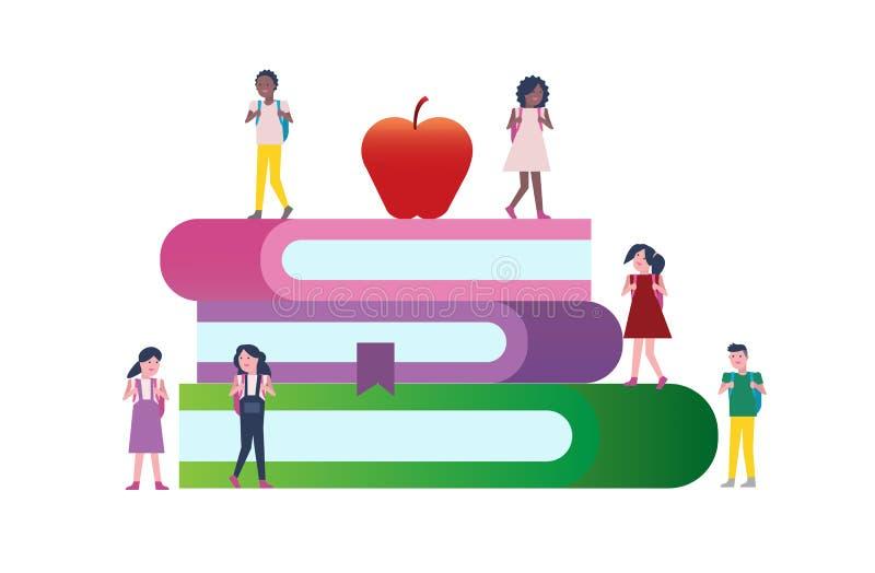 Lyckliga ungar med böcker tillbaka begreppsskola till Teckendesign royaltyfri illustrationer