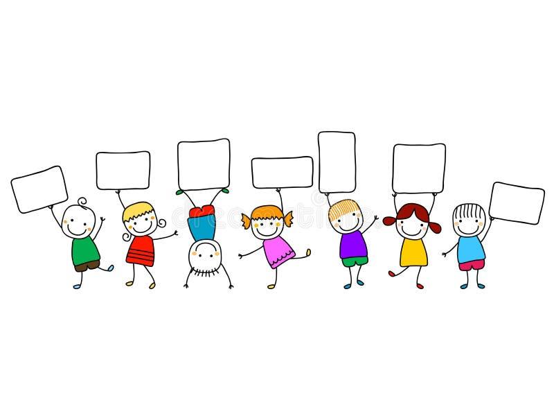 Lyckliga ungar med baner stock illustrationer
