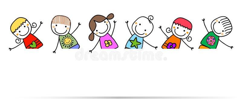 Lyckliga ungar med banret royaltyfri illustrationer